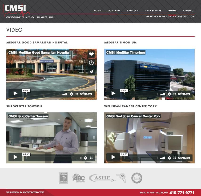 CMSI Video webpage