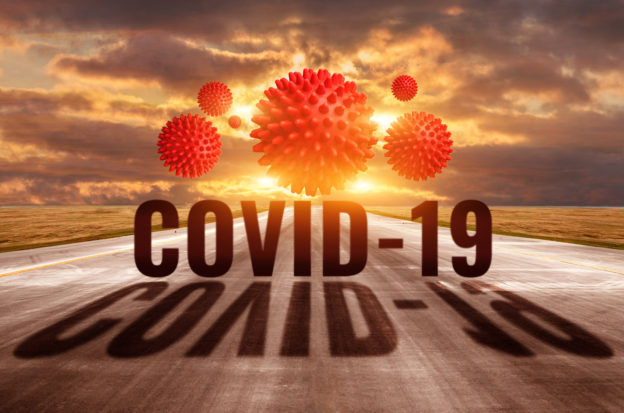 COVID-19 virus in the road