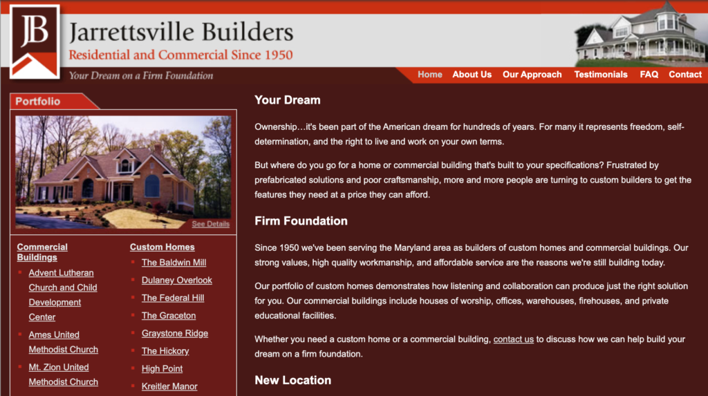 Jarrettsville Builders old home page