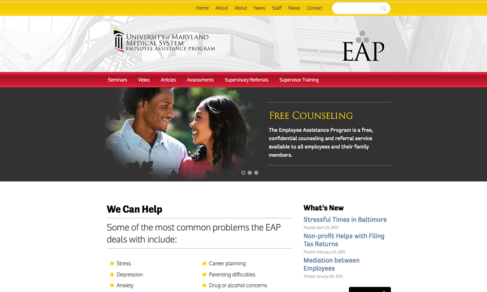University of Maryland web design