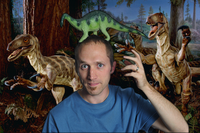 Joel with the dinosaurs.